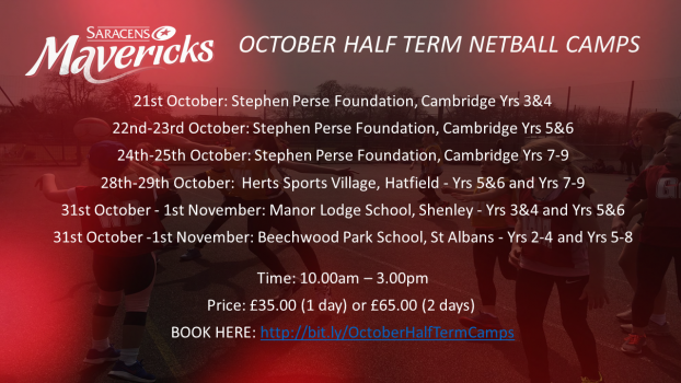 BOOK NOW: OCTOBER HALF TERM NETBALL CAMPS